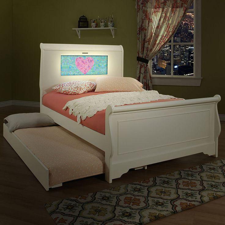 Kids Room Decor LightHeaded Edgewood White Finish Full Bedframe with Trundle #LightHeaded