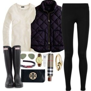 Bonfire - Polyvore, hunter boots, black vest, black skinny jeans, black leggings, quilted, white sweater