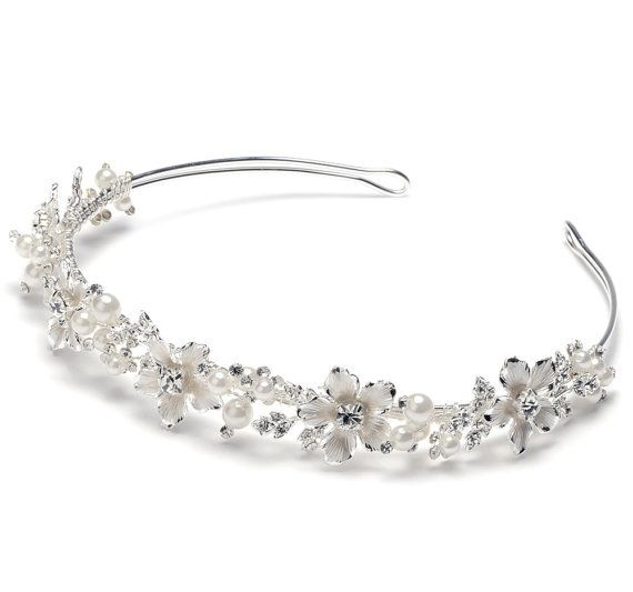 Delicate Pearl Flower Bridal Headband with Pearls