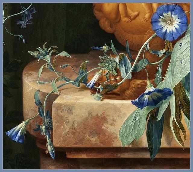 Jan van Huysum 1724 'Bouquet of Flowers in an Urn' (detail) Oil on panel by Plum leaves, via Flickr