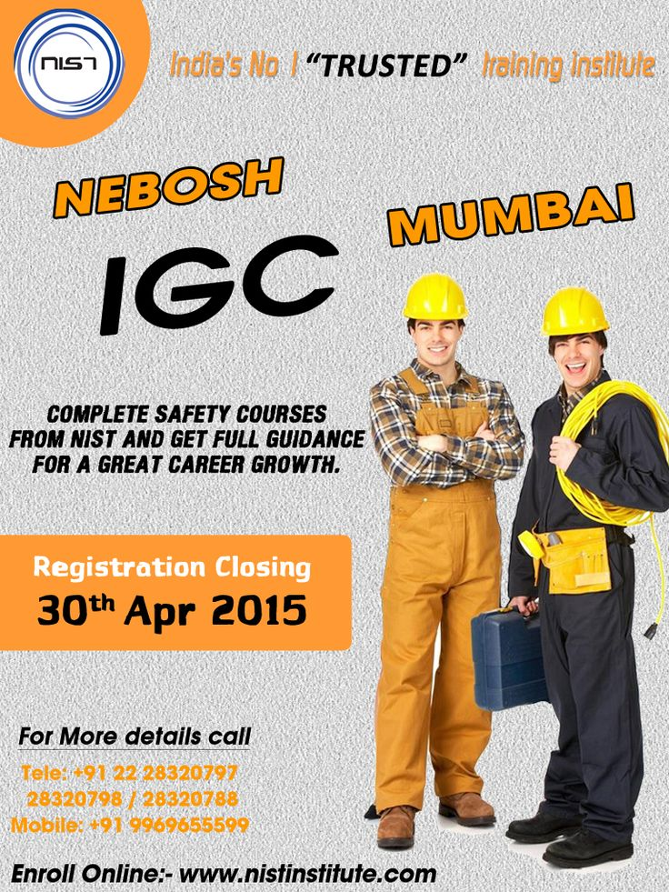 Get full guidance for a great career growth. Learn IGC to achieve a safety officer job and boost your career as a professional. We are conducting IGC course in Mumbai. Registration closing on 30th April 2015.