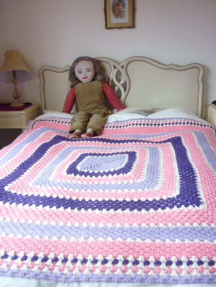 Vintage Hand Crafted Crochet Granny Blanket Throw, Pretty Colours,  Crochet Rug, Synthetic Double Blanket, Bedcover, Bedroom, Sofa Throw by TrinityAntiques on Etsy