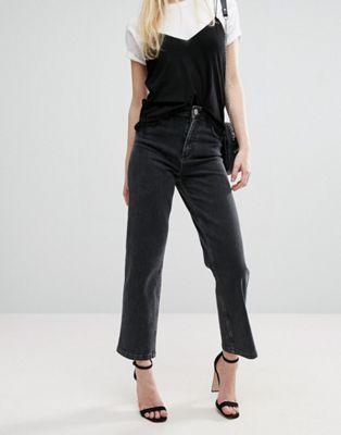 ASOS – Jeans mit geradem Bein und hohem Bund in verwaschenem Schwarz