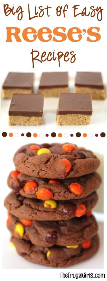 16 Easy Reeses Recipes!  You'll LOVE this collection of desserts including Copycat Reese's Bars, Reese's Pieces Cookies, Brownies and SO much more! | TheFrugalGirls.com