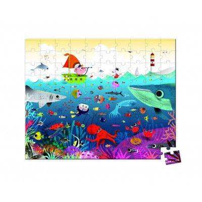Puzzle 100 pièces : Valisette carrée Le monde sous-marin Janod - Magasin de Jouets pour Enfants