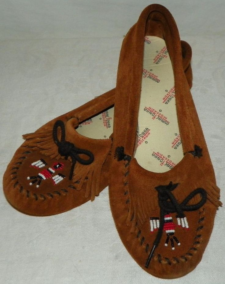 Minnetonka Moccasins Brown Beaded Thunderbird Suede Shoes Womens Size 10 #Minnetonka #Moccasins
