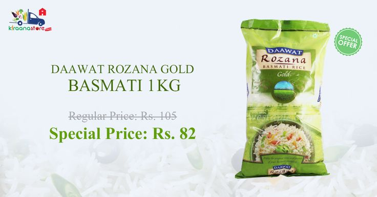 Shop online Dawat Rozana Basmati Rice at lowest price in India only at Kiraanastore.