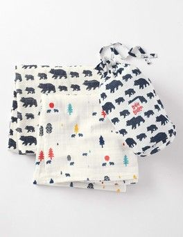 Washed Indigo Bears/Bear Ditsy 2 Pack Soft Muslin Blankets Boden