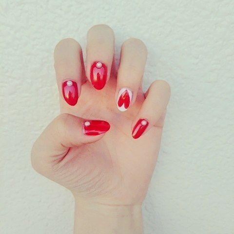 1DAY NAIL. #nail #self #selfnail #red #heart #love #pedicure #1day #simple #simplenail #ネイル #セルフネイル #赤 #1日だけネイル #ペディキュア #ハート #シンプルネイル #好き