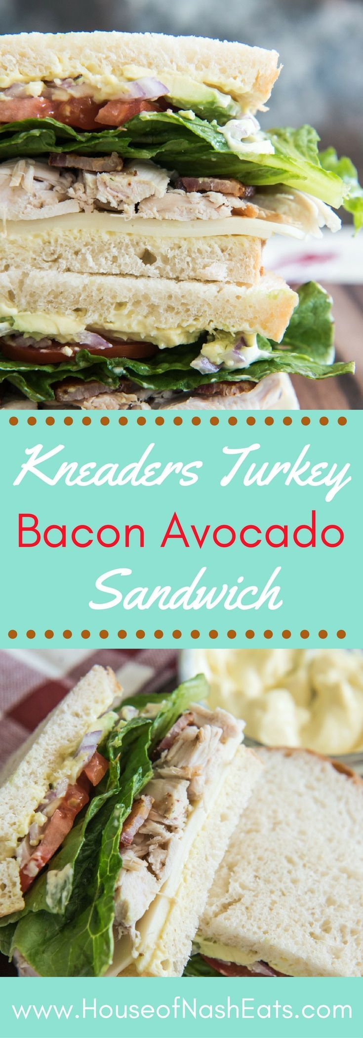 This Turkey Bacon Avocado Sandwich is inspired by my favorite bakery & cafe in Utah. Kneaders makes the most amazing food, and this sandwich is my go-to item on their menu, especially with their mustard-mayo that gets slathered on the bread! #sandwich #t
