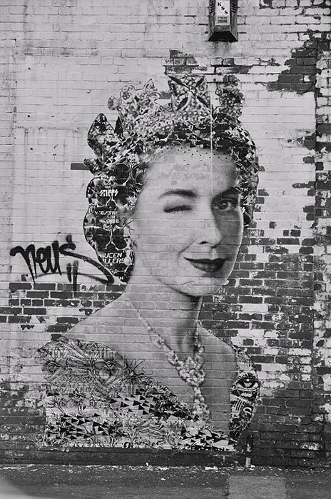 God Save The Queen by Neus | Street Art | Street Artists | Art | Graffiti | queen | funny | Mural | Schomp MINI