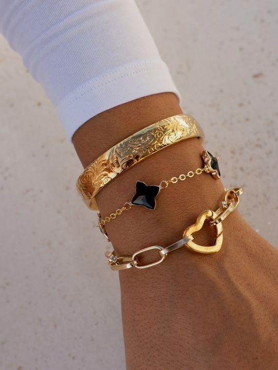 Silver Cuff Bracelet Murano Glass Orange and Green Layering Bracelets Set Bohemian Jewelry Gift For Her Dainty Charm Bracelets For Women