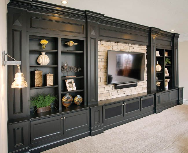 Gorgeous entertainment center by C&W Custom Woodworking in the #Cincinnati area. #housetrends https://www.housetrends.com/specialist/C-W-Woodworking