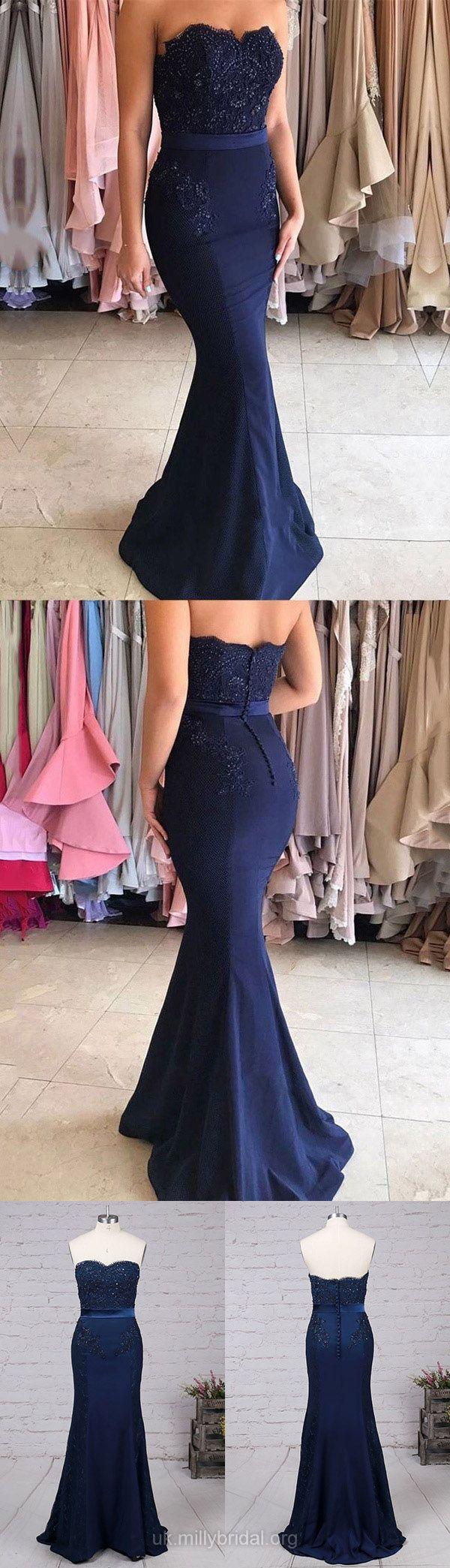Prom Dresses, Long Prom Dresses Trumpet/Mermaid, Sweetheart Prom Dresses Silk-like Satin with Appliques, Lace Prom Dresses Modest #lace #prom