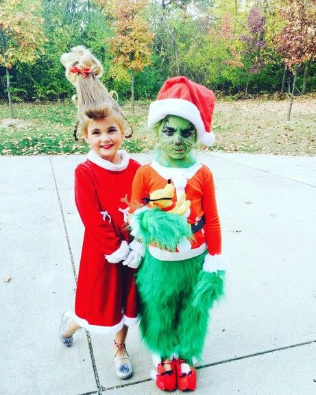 Warm Halloween costumes. The grinch and cindy lou hoo