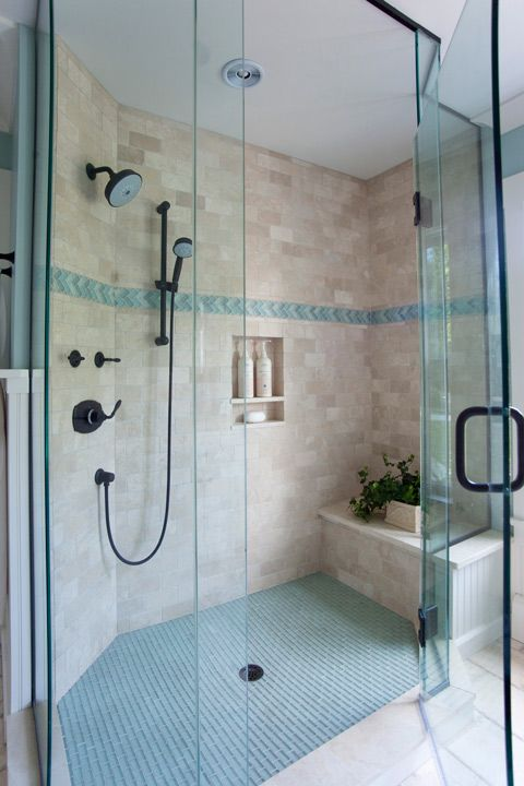 beachcoastal bathroom shower like the idea of the built in seat incase you