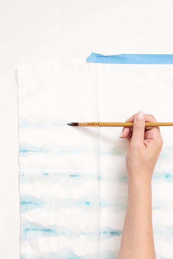 diy watercolor striped napkins