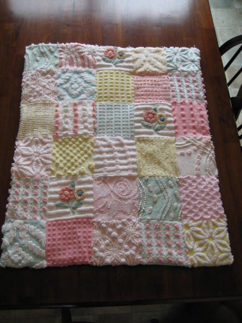 Vintage Chenille Patchwork Lovey/Doll/Pet Quilt - 25 X 31 Inches by CuddlyComforts @etsy