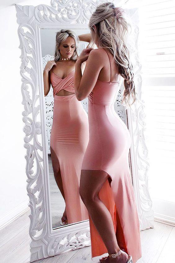 Mermaid Spaghetti Straps Pink Spandex Split-side Criss-cross Prom Dress, prom dresses, prom dresses 2017