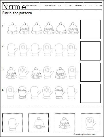 Free cut and paste pattern activity for winter. Great for Pre-K and Kindergarten.