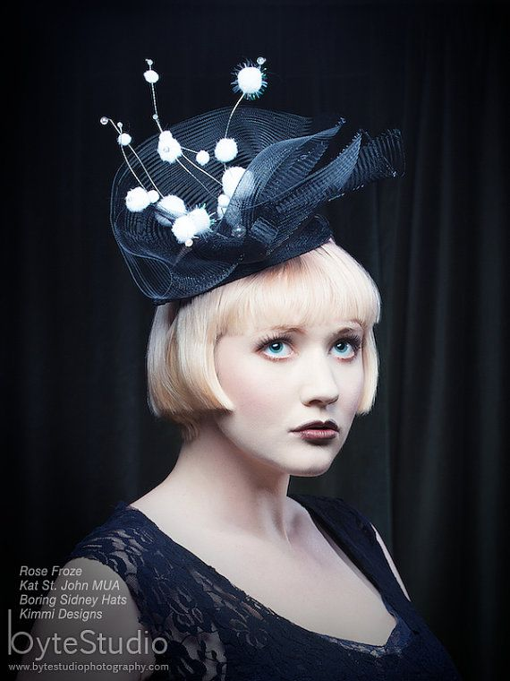 Fascinator black hat black headpiece crinoline by BoringSidney