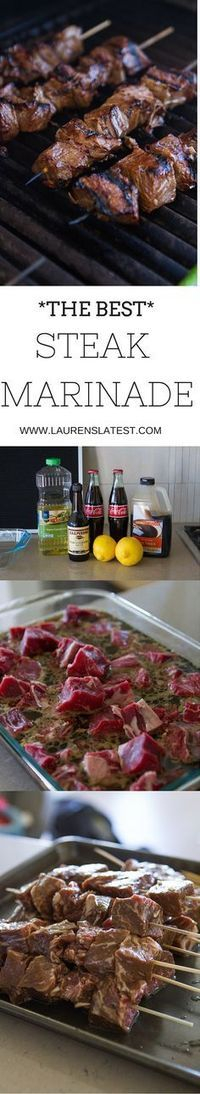 An easy and simple homemade meat marinade for summer! Made with soy sauce, garlic, oil, lemon juice and Coca-Cola, this will make you love steak even more than you already do!