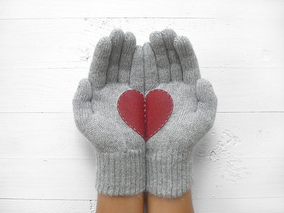 Heart gloves for Valentine's Day