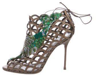 Sergio Rossi Karung Embellished Cage Sandals #sergiorossisandals