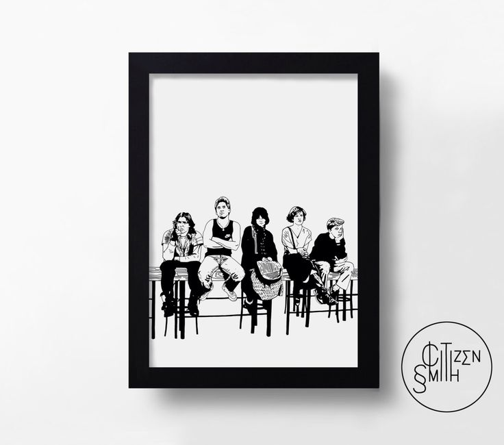 THE BREAKFAST CLUB – Sincerely Yours – John Hughes – Black And White/Colour – Hand-Drawn Film Art Print/ Movie Poster