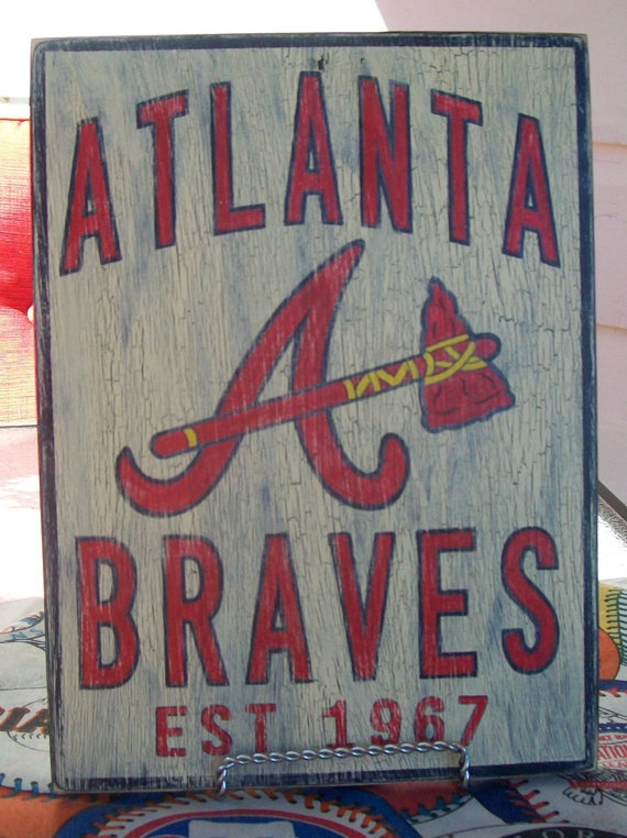 Atlanta Braves 8 x 10 wall sign by BobHenningSigns on Etsy, $20.00