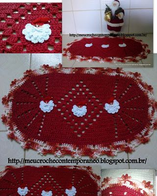 Meu Crochê Contemporâneo: Tapete Oval com Apliques de Papai Noel