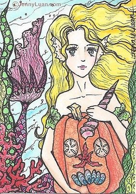 "#ACEO Hallowen #Zentangle #Mermaid, Pumpkin Drawing - ""Decorating Pumpkin"""