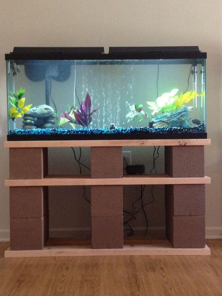 Our diy 55gal fish tank stand made out of cinder for Fish tank cabinet designs
