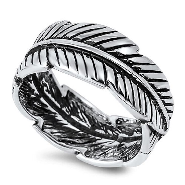 925 Sterling Silver Eternity Feather Ring
