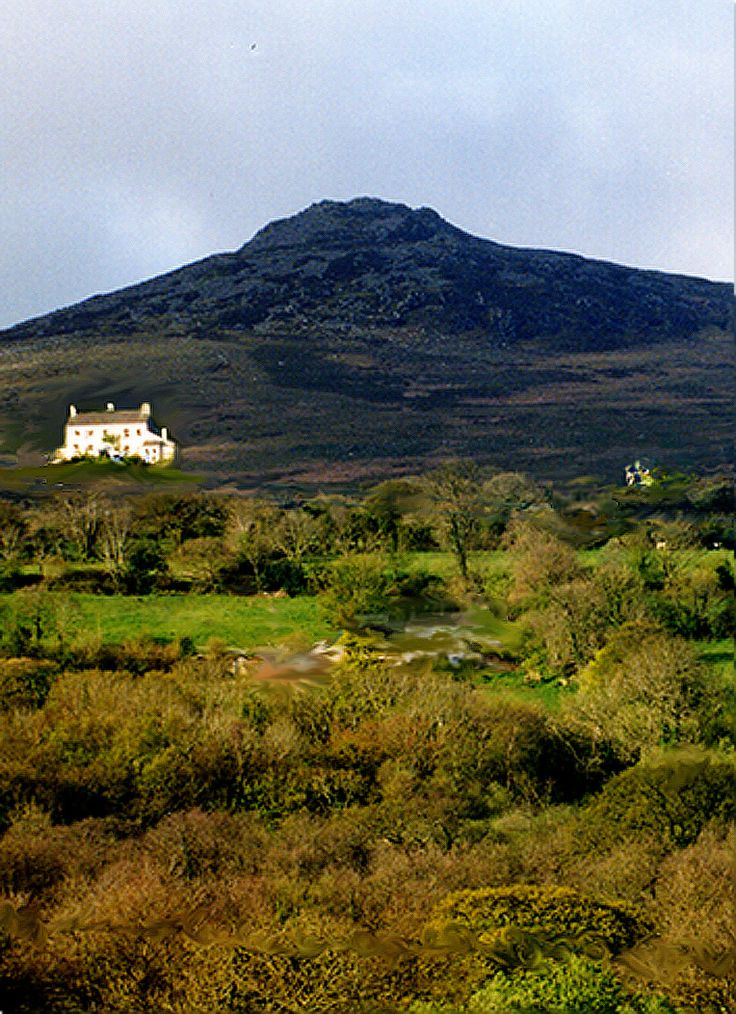 A doctored image of Carningli, showing where Plas Ingli was located, in my imagination....