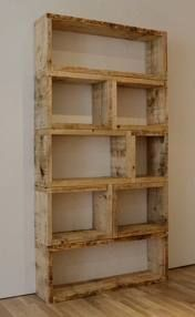 goodbye boring wall shelves! what a great way to reinvent your space and use reclaimed materials. for the wood, watch sites like craigslist for free scrap wood, or better yet, old cedar fence remnants.