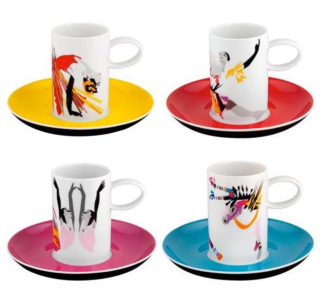 TCHAIKOVSKY by Catarina Pestana - Set 4 Coffee Cups & Saucers €.65,00