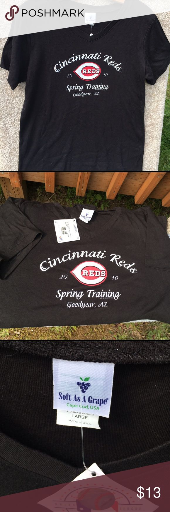 ⚾️️MLB Cincinnati Reds T Black Soft as Grape Womens T size Large. Reds spring training T  💯 Authentic 🚫NO trades  👉🏽NO longer taking offers on this item since it is priced as low as i can go. Postmark takes 20% of sales plz keep that in mind ❣️Please be kind as that's what you'll get in return ☮️Thanks for the opportunity to share my goods w/ u ✌🏽️💝😁 <- My Motto Peace, Love & Happiness Always! Soft As Grape Tops Tees - Short Sleeve