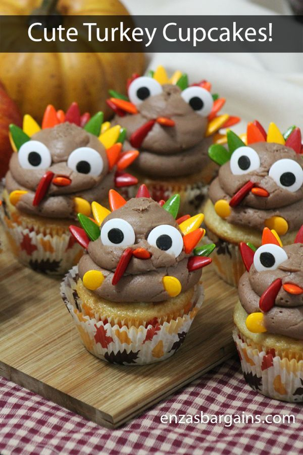 Cute Turkey Cupcakes - Recipe Your family will gobble up this cupcake after they snap their own Turkey Cupcake Selfies! :)