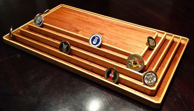 Solid mahogany and oak coin display.