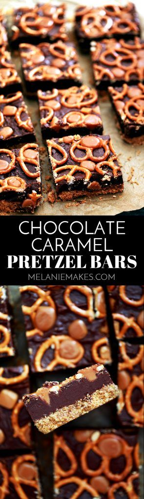 With just six ingredients, these Chocolate Caramel Pretzel Bars couldn't be easier yet will easily feed a crowd. A buttery graham cracker crumb base layer is covered with thick fudgy chocolate before being adorned with mini pretzels and caramels. The perfect sweet and salty combination in a single dessert.