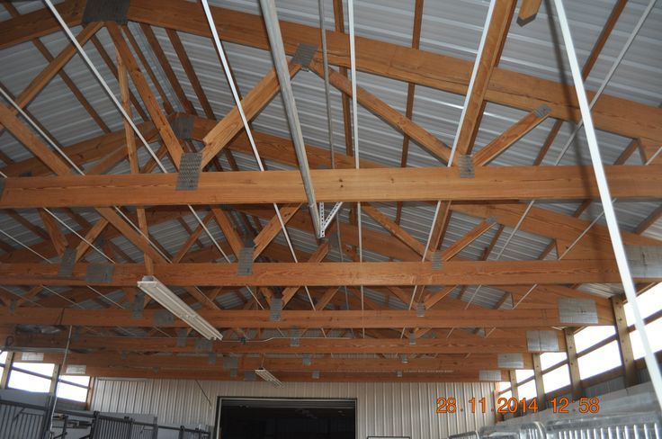Roof Insulation in a Pole Barn Roof. Insulation installed at the bottom of the rafters. 1-800-486-8415 for Pole Building Insulation materials. http://polebuildinginsulation.com/