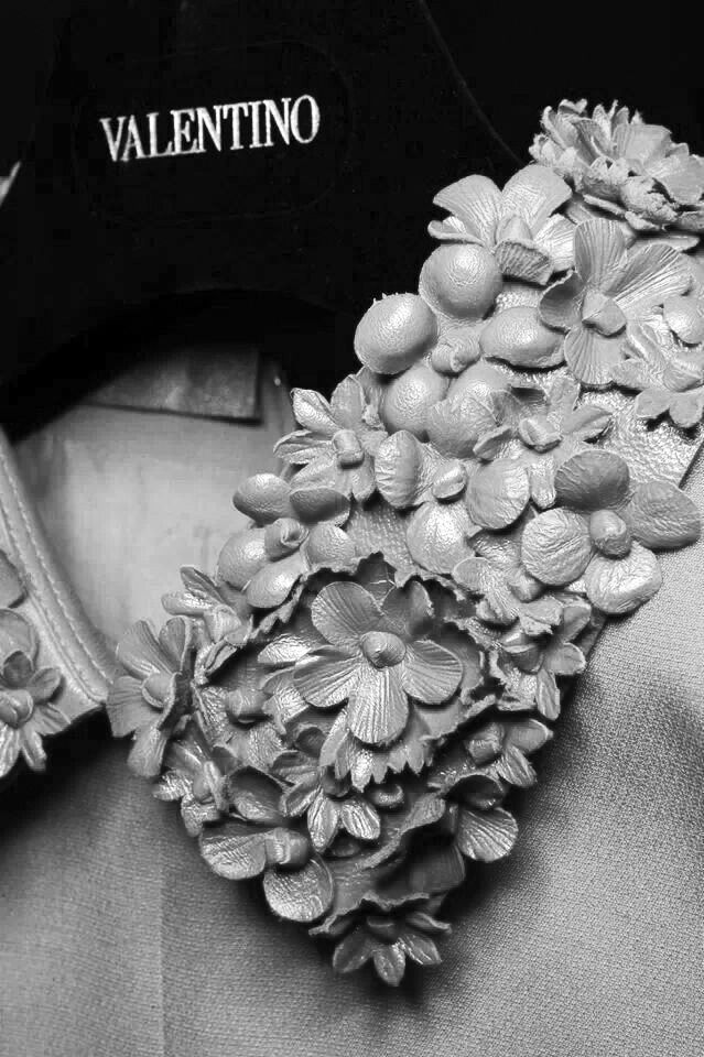 Leather flower embellished collar detail; sewing inspiration; close up fashion // Valentino Fall 2014