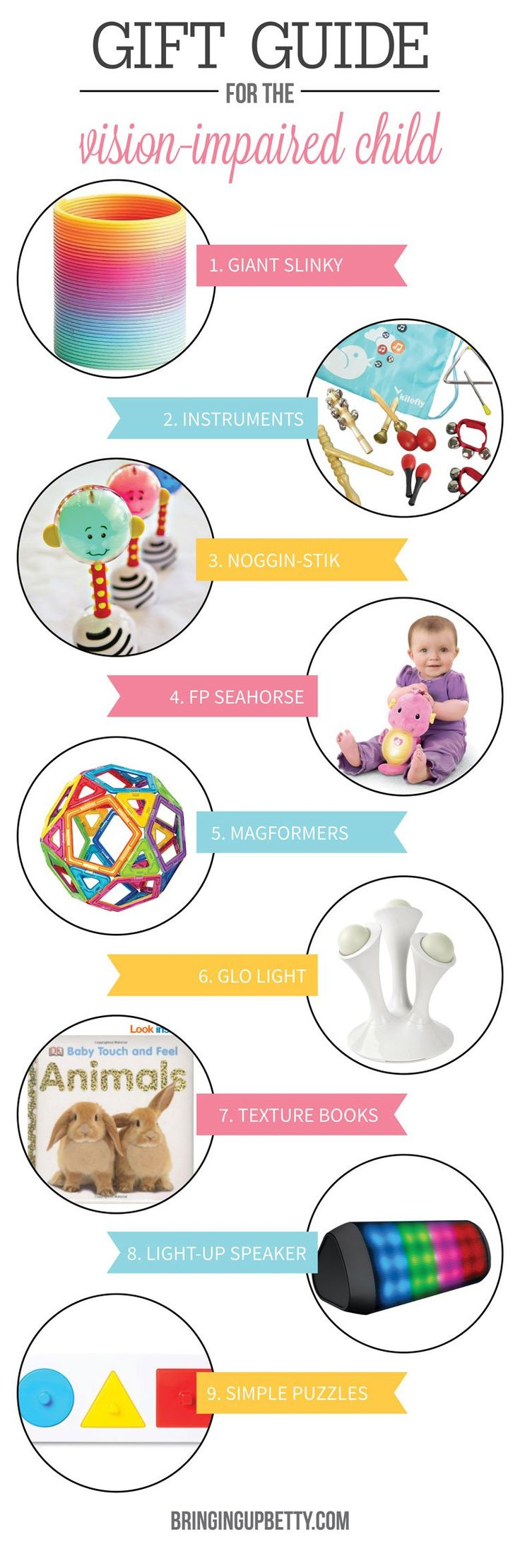 Great ideas for Christmas and Hanukkah presents for children who are blind or visually impaired!