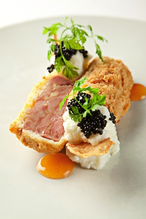 WD-50 cold fried chicken, buttermilk ricotta, tabasco honey and caviar