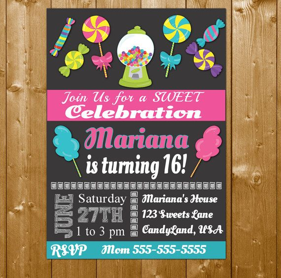 SWEET 16 INVITATION Candy Invitation, Candy Invitations, Sweet 16 Birthday Invitation for a Girl Free Thank You! Your Sweet 16 or Candy party