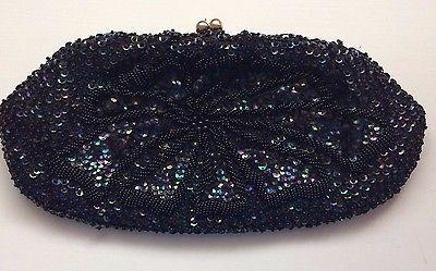 Black Beaded Evening Bag Vintage Clutch Purse Beads & Iridescent Sequins