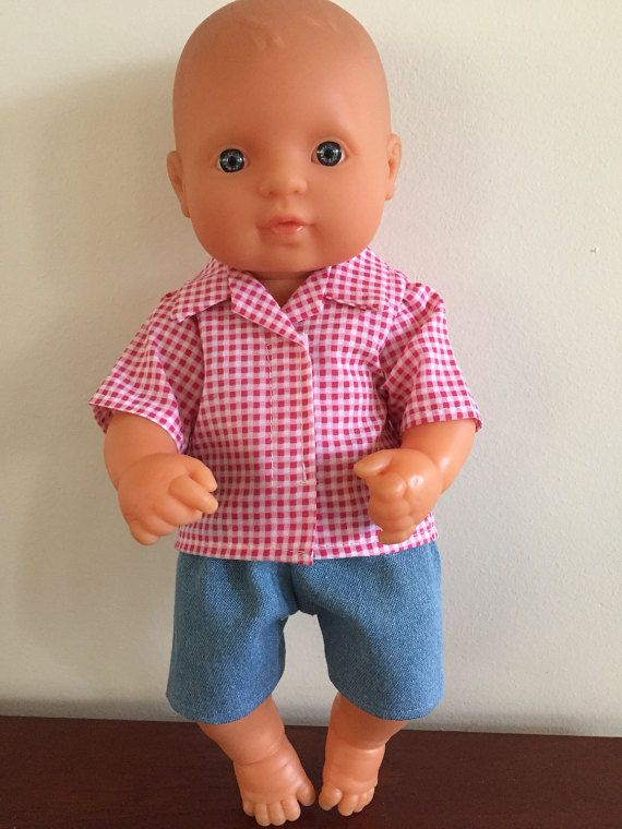 Red Checked Shirt and Light Blue Denim Shorts by DebsDollsClothes