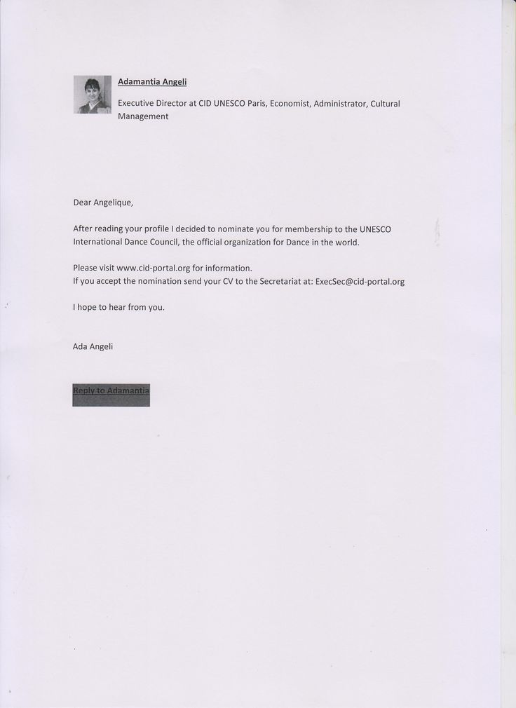Adamantia Agnelli , Executive Director of  CID Unesco nominates Angelique for CID membership, 18 November 2013, received via Linkedin message . This letter  from Asamantia Agnelli has subsequently  been published on Linkedin Pulse on the 26th  January 2018
