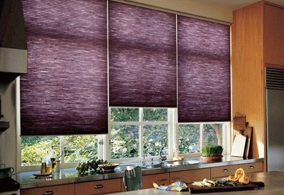 images of  purple drapes and window coverings | Purple kitchen window shades, cool colors for sunny kitchen window